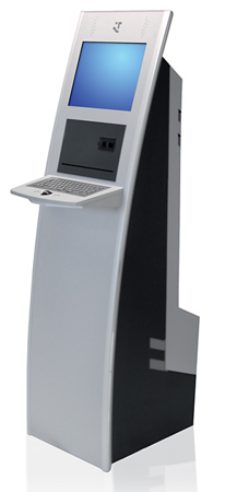 Obwohl der Kioskterminal Van viel Platz für Technologie bietet, ist er im Erscheinungsbild schlank und elegant.