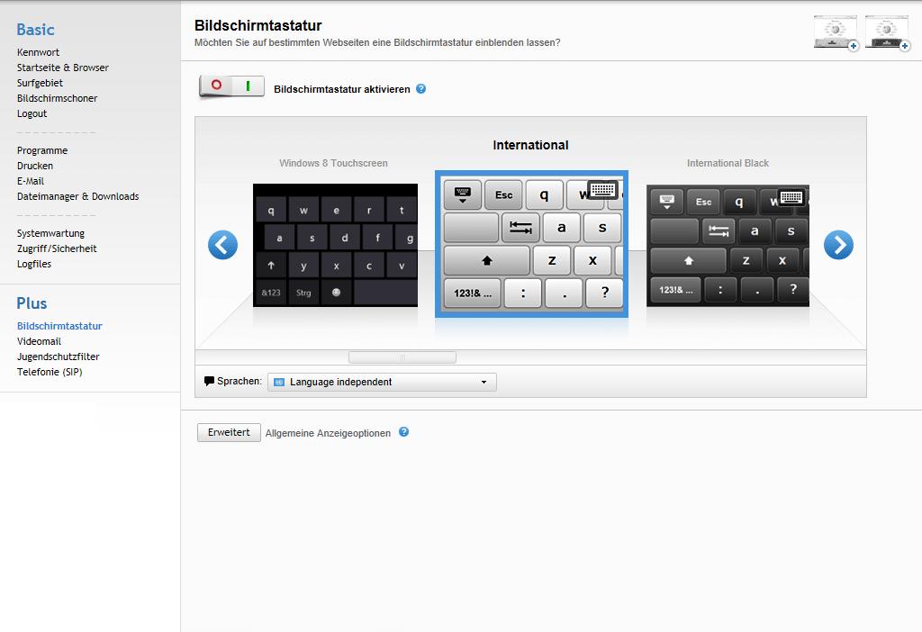Kiosksoftware Bildschirmtastatur